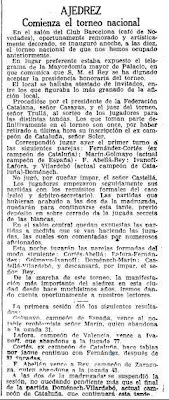 Recorte de La Vanguardia sobre el Torneo Nacional de Ajedrez Barcelona 1926, 25/9/1926
