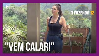 A Fazenda 12 – Raissa briga com  Luiza – Raissa desabafa com Jojo após discutir com Luiza