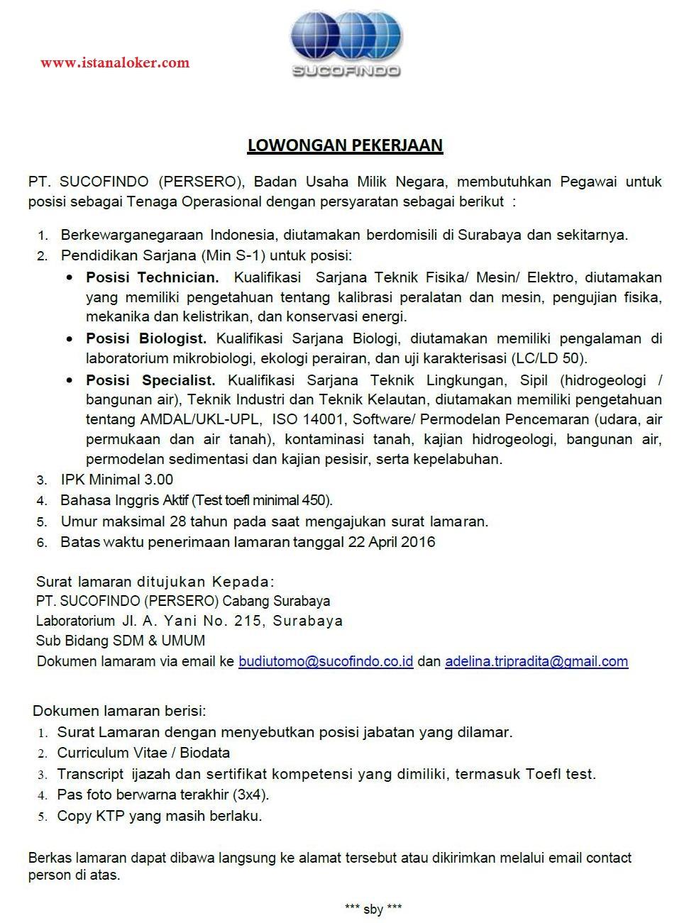 Lowongan Kerja PT. Sucofindo (Persero) Cabang Surabaya