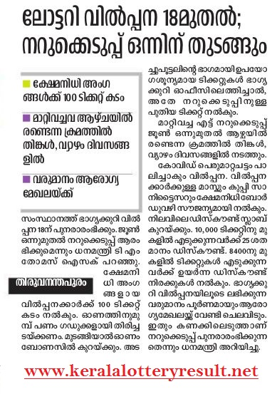 Kerala Lottery Result Summer Bumper Postponed Once More BR 72 2020,