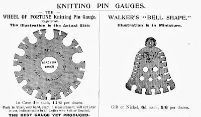 Vintage knitting needle gauges, 1910s; bell gauge, Wheel of Fortune gauge
