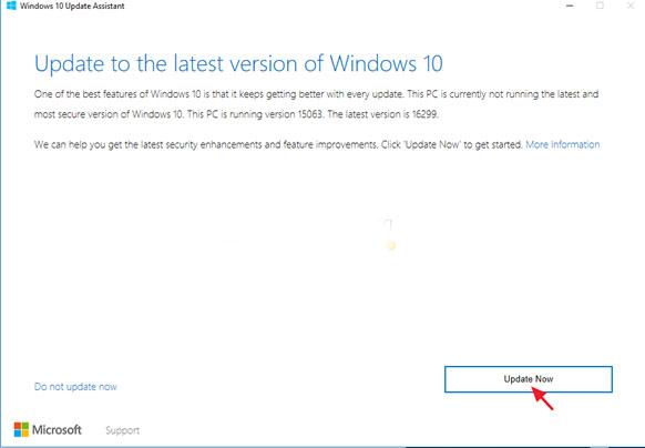 مساعد تحديث Windows 10