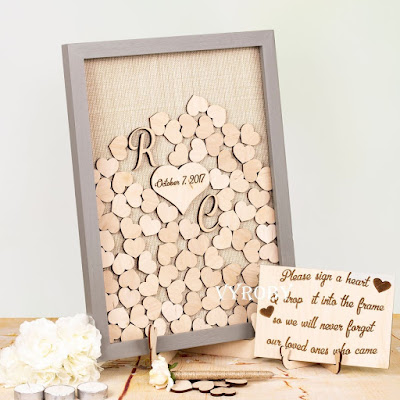 Put them all together in a box frame and then - heart laser cut wood  guest book - Wedding Soiree Blog by K'Mich, Philadelphia's premier resource for wedding planning and inspiration -Etsy-K'Mich Weddings