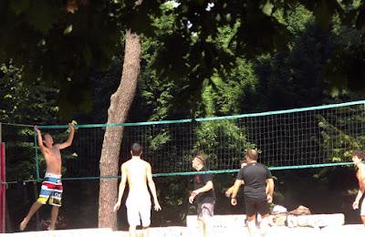 jovens jogando volei no parque