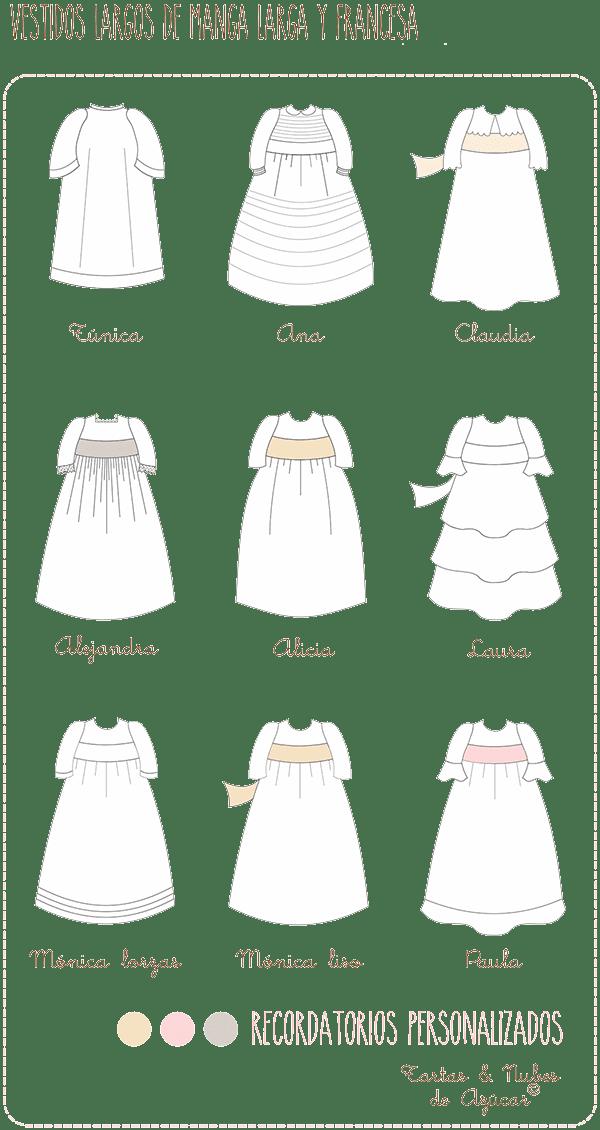 Vestidos de manga larga para recordatorios personalizados