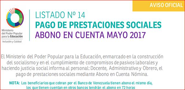 AVISO OFICIAL: LISTADO Nº 14 PAGO DE PRESTACIONES SOCIALES ABONO EN CUENTA MAYO 2017