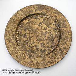 Prächtiger Goldteller 33 cm mit Musterprägung als Platzteller zu verwenden, aus Kunststoff