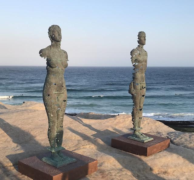 Photo of Egor Zegura's sculptures on Sydney's Bondi to Bronte cliff walk, 2019 Sculpture by the Sea