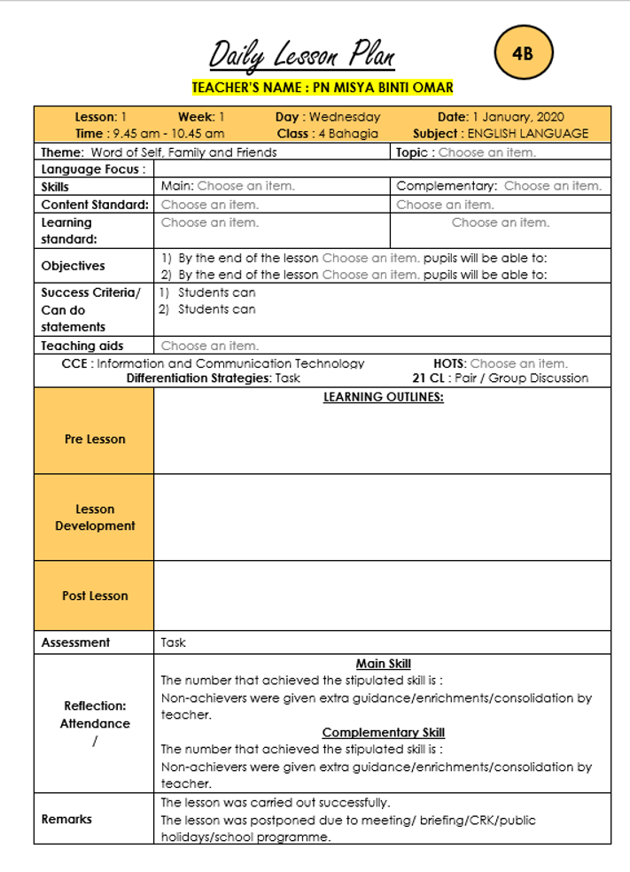Teacherfiera Com Editable Daily Lesson Plan Template For Year 1 2 3 4 2020 With Drop Down Menus