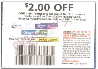 """$2.00/1-Crest Toothpaste or Liquid Gel product 3 oz or larger Coupon from """"P&G"""" insert week of 12/27/20."""