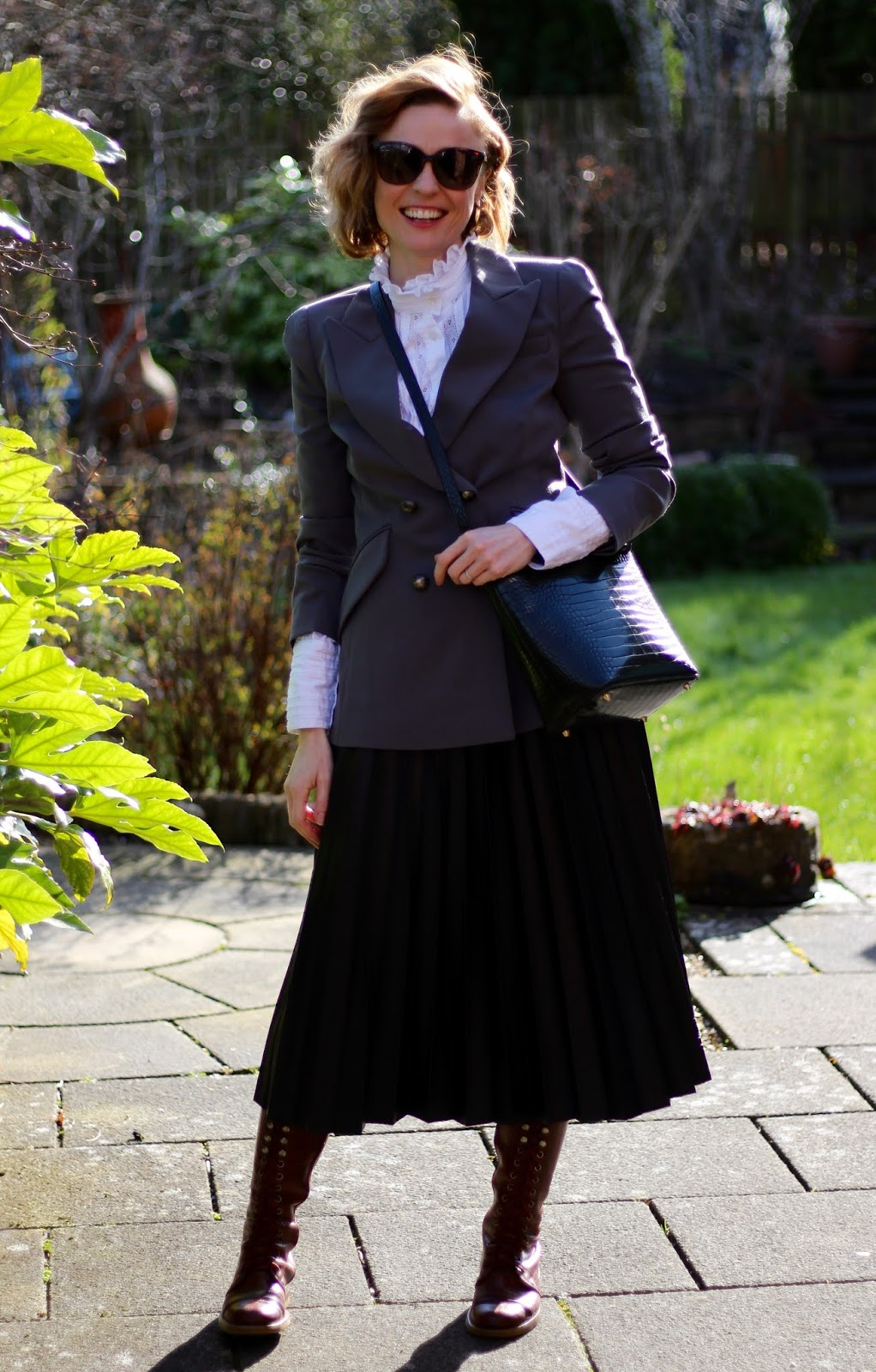 Leather skirt and ruffle blouse | Fake Fabulous | Spring Outfit