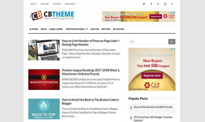 Template Blogger CB Theme Super Simple, SEO Optimized dan Responsive Gratis