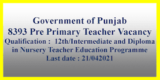 8393 Pre Primary Teacher Vacancy - Government of Punjab