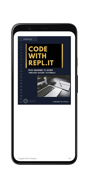 Cover of Code with Repl.it in Google Play Books on a Pixel 4 XL