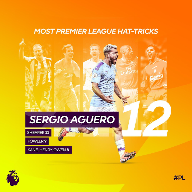 A record night! Aguero now has the most hat-tricks in Premier League history!
