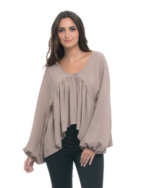 Light Brown Blouse with Pleats