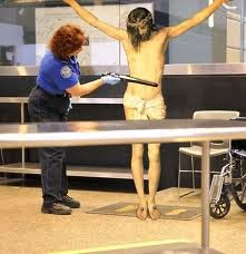 funne jesus crucified poses - jesus at airport security control being scanned