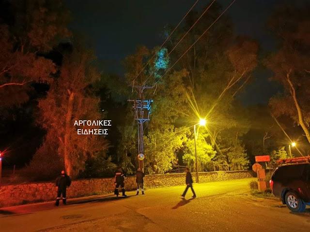 Εκτεταμένο blackout στο Ναύπλιο από φωτιά σε κολώνα της ΔΕΗ
