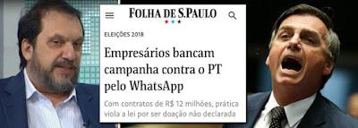 Manchete da Folha com fraude do WhatsApp