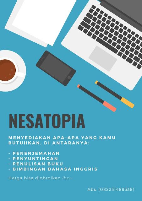 Nesatopia, jasa penerjemahan, penyuntingan, penulisan buku dan bimbingan Bahasa Inggris.