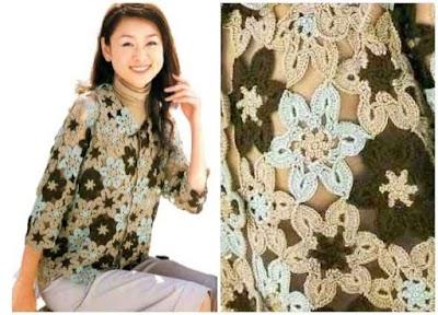 Chaqueta motivos florales composición ganchillo
