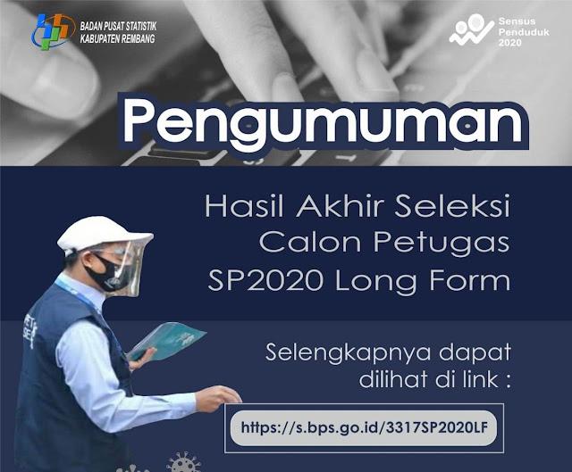 Pengumuman Akhir Rekrutmen Calon Petugas SP2020 LF BPS Kabupaten Rembang