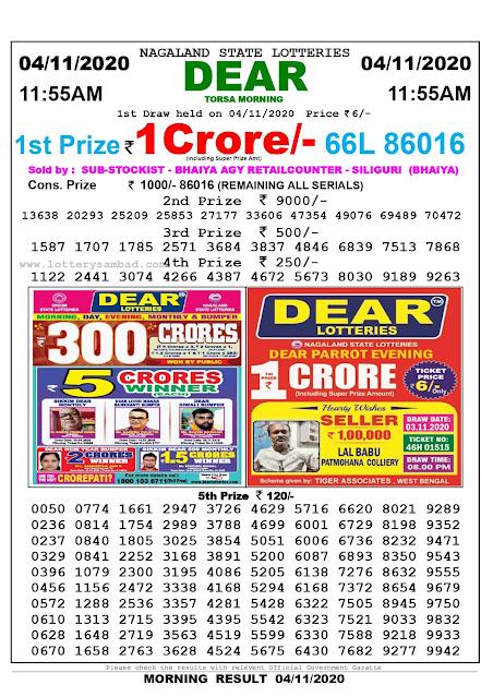 Lottery Sambad 04-11-2020, Lottery Sambad 11.55 am results, Nagaland Lottery Results, Lottery Sambad Today Results Live, Morning results