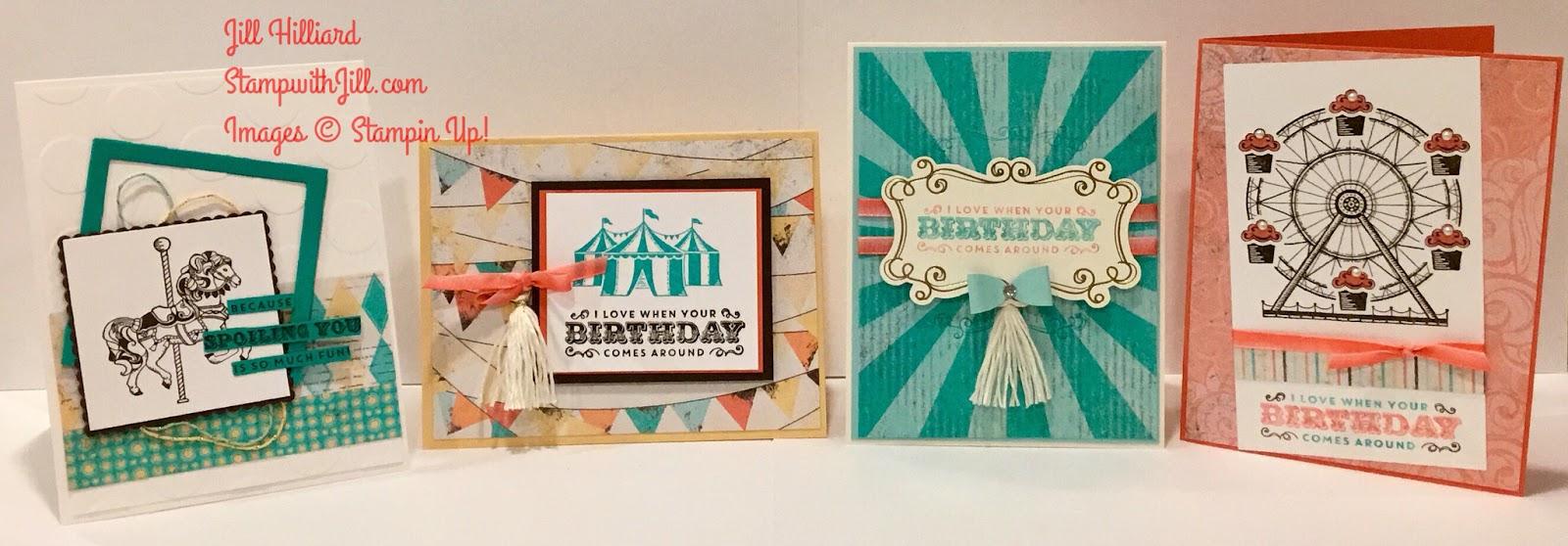 Carousel Birthday Card Class By Mail Jills Card Creations