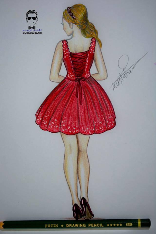 a503f02a55276 تعلم رسم جسم فتاة مع فستان قصير مميز How to draw girl with a dress