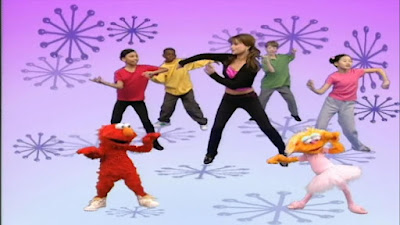 Zoe, Elmo and Paula Abdul dance. sesame street zoe's dance moves.