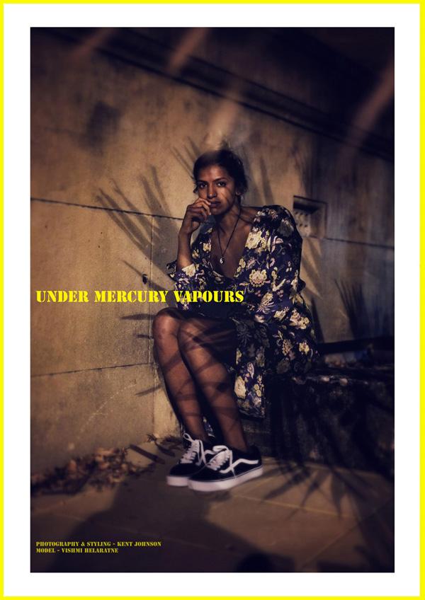 Under Mercury Vapours, Title Shot. Vishmi wears ROLLA'S Camille Wrap Dress in Floral print, Old School Vans skate shoes. photographed for Street Fashion Sydney by Kent Johnson.