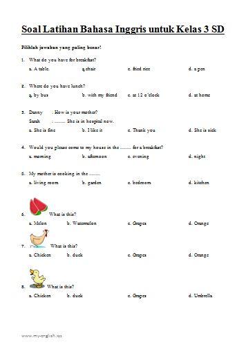 Download Kumpulan Soal Latihan Bahasa Inggris untuk SD Kelas 3 Dilengkapi dengan Kunci Jawaban