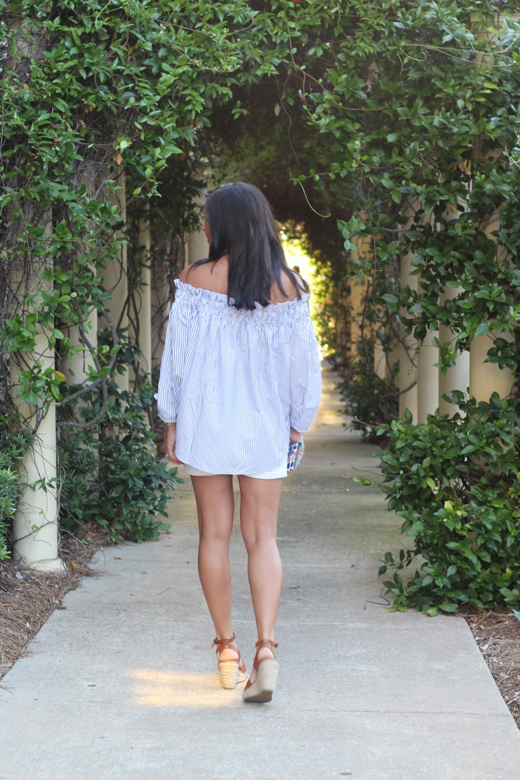 Striped off the shoulder top, cheap tan espadrilles,