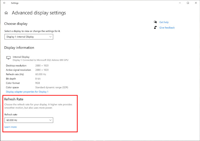 Refresh rate windows 10 october 2020