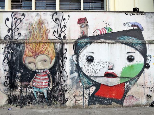 Close-up do Grafite pintado na parede lateral da ETEC Carlos de Campos - Brás - São Paulo