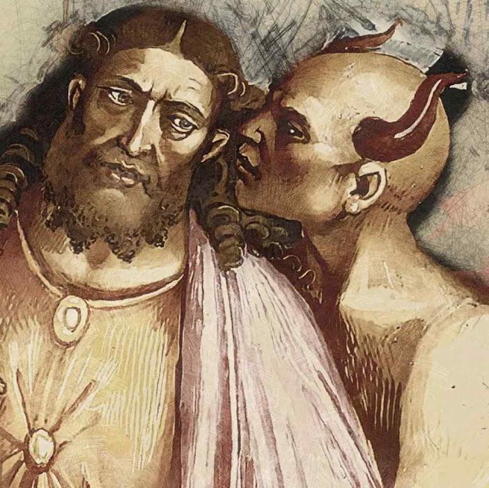Anticristo, detalhe de Luca-Signorelli  (1445 - 1523), basílica de Orvieto, estilizado por Stephen M. Miller