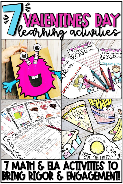 These 7 Valentines Day activities for 1st, 2nd and 3rd grade students are perfect for keeping students engaged during February! Click the pin to find 7 different Valentines Day math and ELA activities that will keep students learning and challenged all month long. They'll love creating these monster valentine bags, writing kindness notes, the valentines choice board, Valentines Day PBL project, and MORE