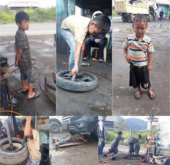 Anak-anak Bekerja di Tambal Ban Bersama