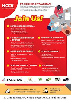 Lowongan Kerja SMA/SMK/D3/S1 PT Hokinda Citralestari Medan Juni 2020
