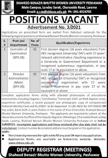 Most recent Shaheed Benazir Bhutto Women University Education Jobs in Peshawar 2021-9/15/