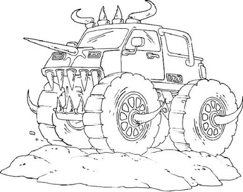 gambar mewarnai truck untuk anak paud dan tk