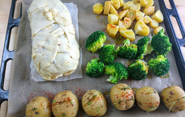 vegetables and wellington on tray ready to roast