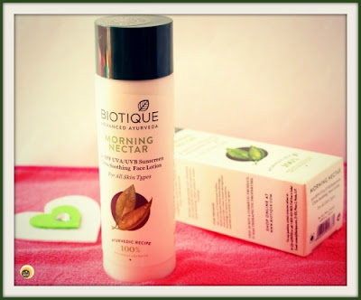 Biotique Morning Nectar Ultra Soothing Face Lotion with SPF 30+ Review on NBAM Blog