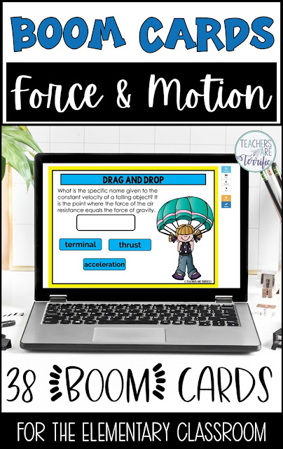 Boom Cards for Force and Motion- this set of 38 cards has students identifying force and motion vocabulary and Newton's Laws of Motion!