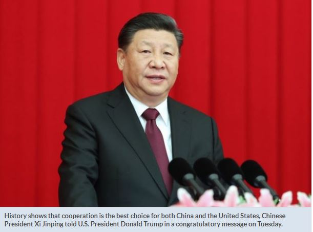 Cooperation best for both China and US, Xi tells Trump