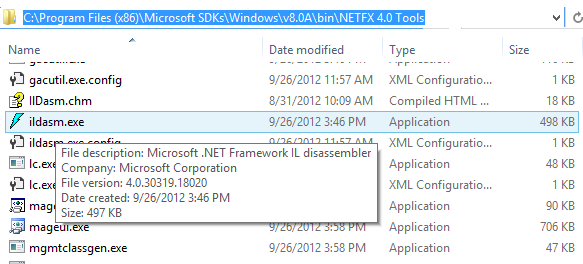 Decompile a  NET EXE with inbuild Microsoft tools ildasm exe