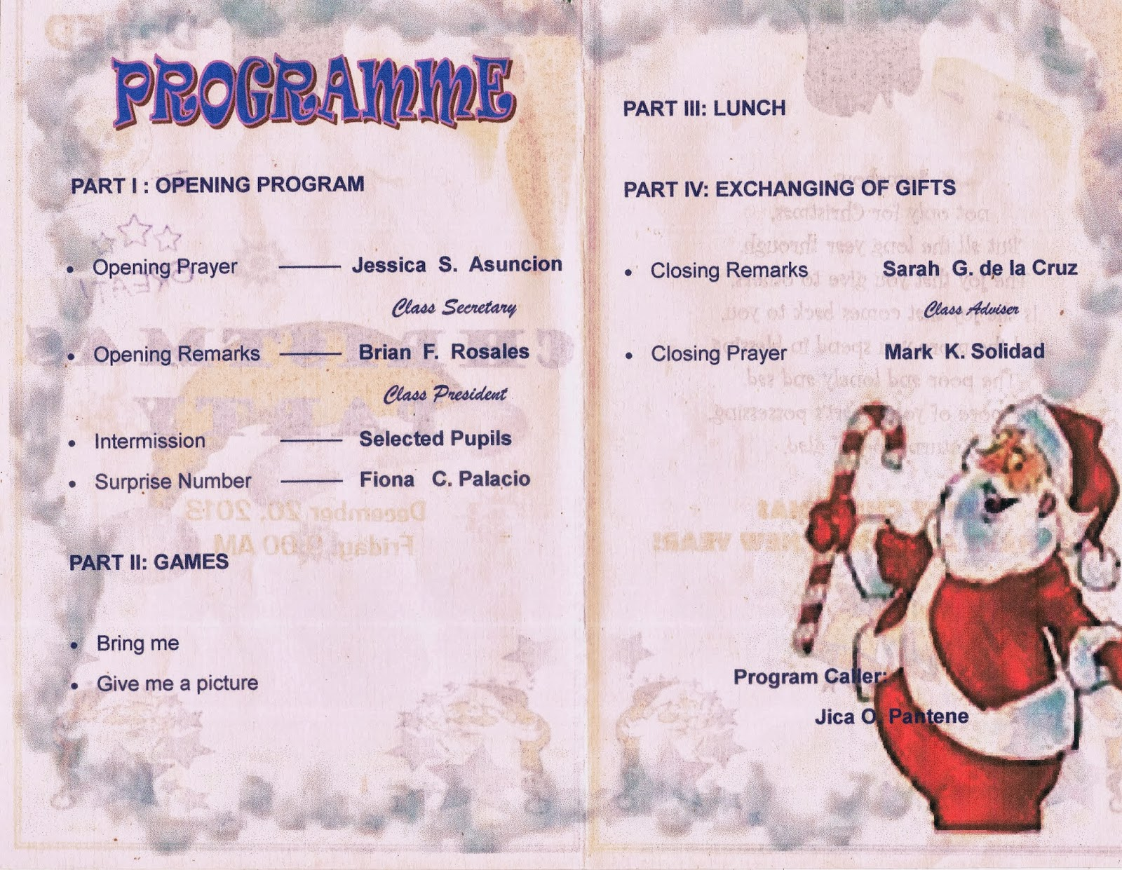 valuable efforts my e portfolio in educational technology  this is the flow of my program in our christmas party