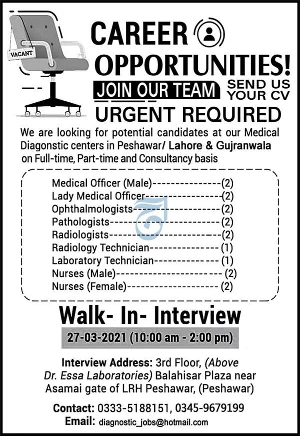 Medical Jobs in Lahore, Peshawar & Gujranwala 2021