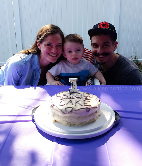 Harold Turns One, first birthday party, purple, birthday cake, Harold and the Purple Crayon party, family