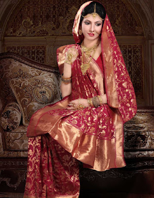 A traditional north Indian style of wedding dress looks amazing.